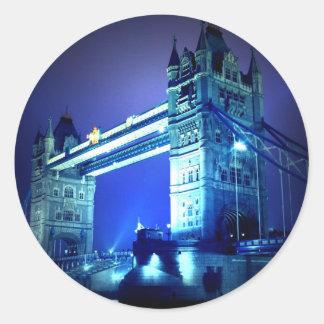 Puente de Londres en la noche Pegatina Redonda