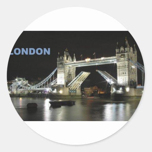Puente de Londres en la noche (St.K) Pegatina Redonda
