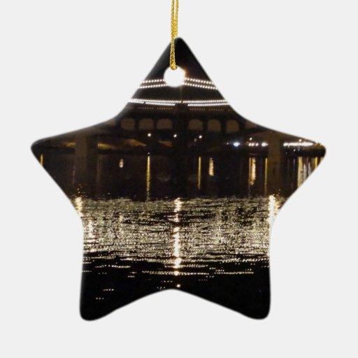 Puente de luces adorno navideño de cerámica en forma de estrella