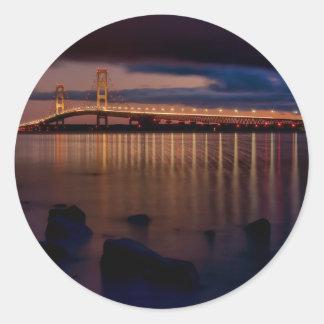 Puente de Mackinac 1257 Etiquetas Redondas