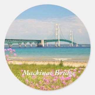 """Puente de Mackinac """"el mac grande """" Pegatina Redonda"""