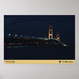 Puente de Mackinac en la noche Póster