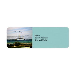 Puente de Mackinac, isla de Mackinac Etiqueta De Remitente