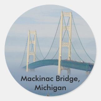 Puente de Mackinac, Michigan Etiqueta Redonda