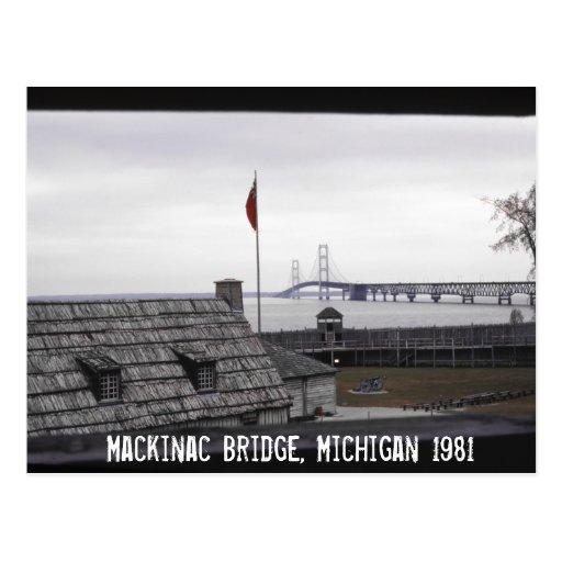 Puente de Mackinac Michilimackinac colonial Michig Tarjeta Postal