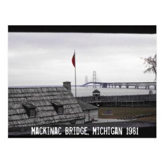 Puente de Mackinac Michilimackinac colonial Tarjeta Postal