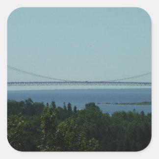 Puente de Mackinac Pegatina Cuadrada