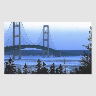 Puente de Mackinac Pegatina Rectangular