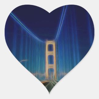 Puente de Mackinac que brilla intensamente Pegatina En Forma De Corazón