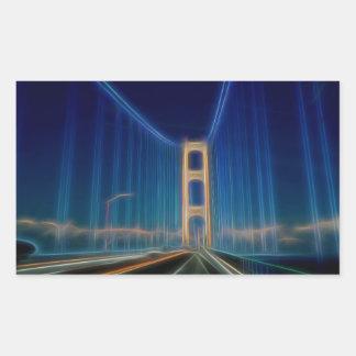 Puente de Mackinac que brilla intensamente Pegatina Rectangular