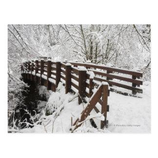 Puente de madera nevado tarjeta postal