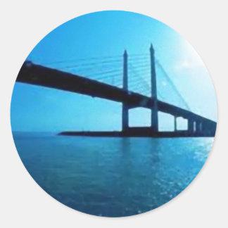 Puente de Malasia Penang Etiqueta Redonda