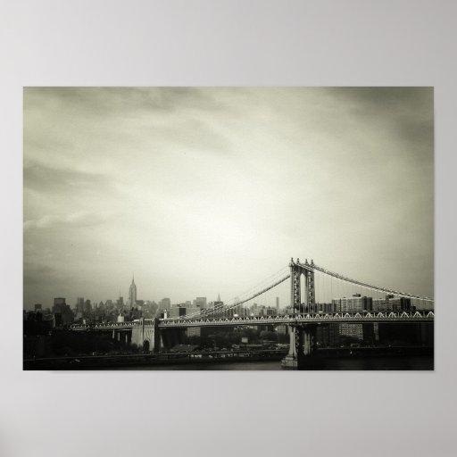 Puente de Manhattan, blanco y negro, pequeño Póster