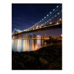 Puente de Manhattan en la noche Tarjeta Postal