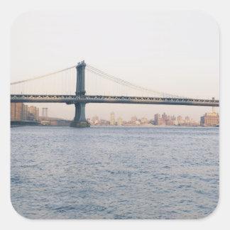 Puente de Manhattan Pegatina Cuadrada