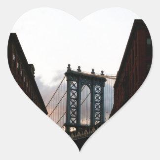 Puente de Manhattan Pegatina En Forma De Corazón