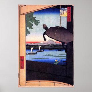 Puente de Mannen en Fukagawa Póster