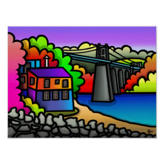 Puente de Menai, isla de Anglesey Póster