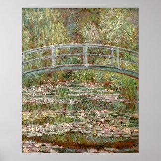 """Puente de Monet el """"sobre una charca de los lirios Póster"""