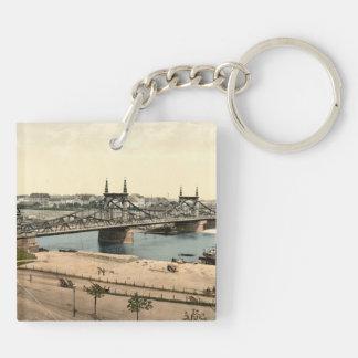 Puente de Neckar, Mannheim, Alemania Llavero Cuadrado Acrílico A Doble Cara