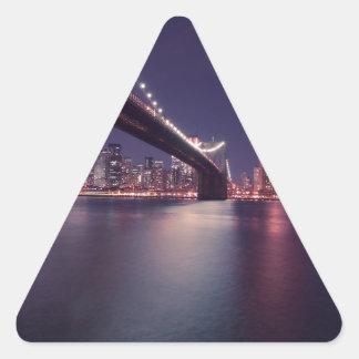 Puente de New York City Brooklyn Pegatina Triangular