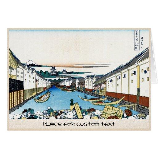 Puente de Nihonbashi en Edo Katsushika Hokusai Tarjeta Pequeña