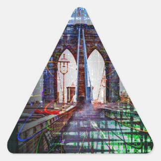 Puente de Nueva York - de Brooklyn Pegatina Triangular