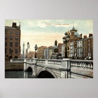 Puente de O'Connell, vintage 1915 de Dublín, Irlan Póster