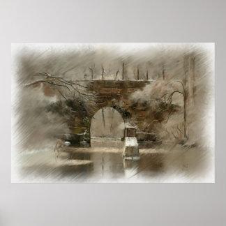 Puente de piedra arqueado en la impresión de la pi póster