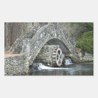 Puente de piedra de Nueva Inglaterra Pegatina Rectangular
