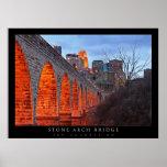 Puente de piedra del arco de Minneapolis Póster