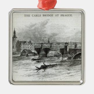"""Puente de Praga, a partir de la """"hora del ocio"""", Adorno Cuadrado Plateado"""