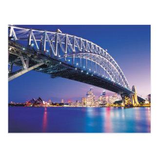 Puente de puerto de Sydney en la noche Australia Tarjeta Postal