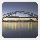 Puente de puerto de Sydney y teatro de la ópera de Calcomanías Cuadradass Personalizadas