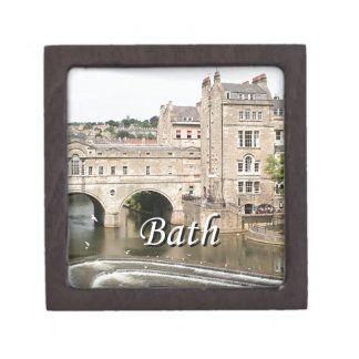 Puente de Pulteney, río de Avon, baño, Inglaterra Cajas De Recuerdo De Calidad