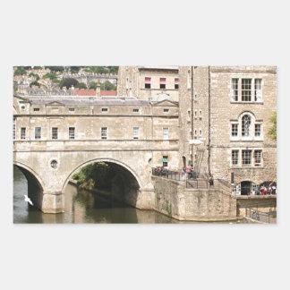 Puente de Pulteney, río de Avon, baño, Inglaterra Pegatina Rectangular