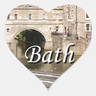 Puente de Pulteney, río de Avon, baño, Inglaterra Pegatina En Forma De Corazón