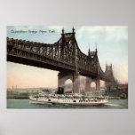 Puente de Queensboro, vintage 1915 de New York Cit Impresiones