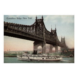 Puente de Queensboro, vintage 1915 de New York Cit Póster