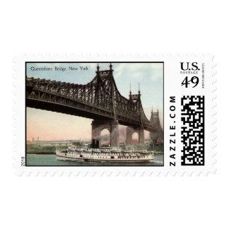 Puente de Queensboro, vintage 1915 de New York Sello