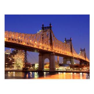 Puente de Queensboro y el East River Tarjeta Postal