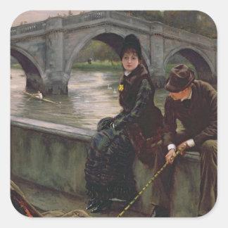 Puente de Richmond, c.1878 Pegatina Cuadrada