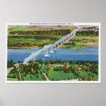 Puente de Rip van Winkle sobre el río Hudson Póster