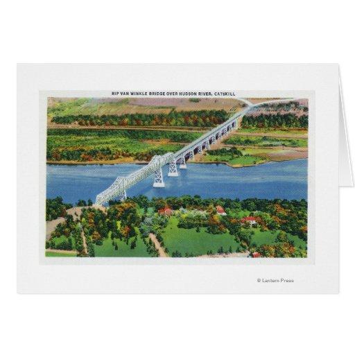 Puente de Rip van Winkle sobre el río Hudson Tarjeta De Felicitación