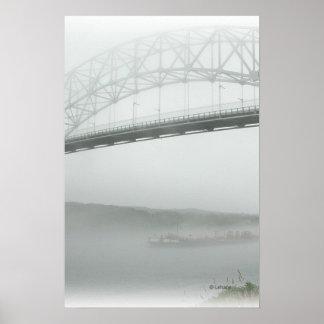 Puente de Sagamore en niebla Posters