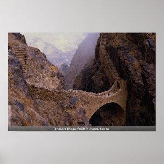 Puente de Shahara, abismo de 9000 pies, Yemen Póster