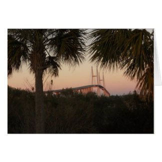 Puente de Sidney Lanier en la puesta del sol Felicitacion