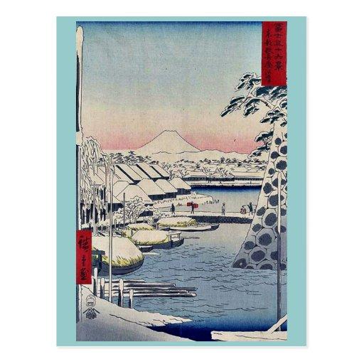 Puente de Sukiya cerca y, Hiroshige Tarjeta Postal