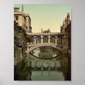 Puente de suspiros, vintage Photoc de Cambridge, Póster