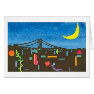 Puente de Triborough en la noche Tarjeta De Felicitación